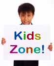 Kids Zone Sign Shows Children's Play Area