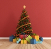 red room with christmas-tree and colorful gift - rendering