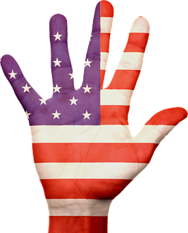 painted flag on hand free